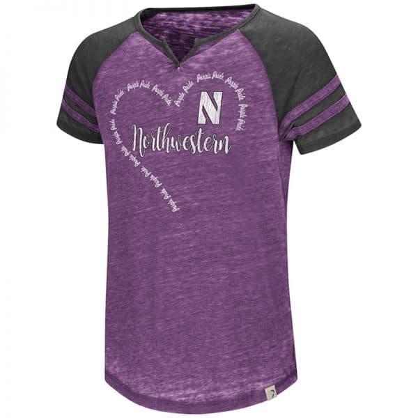 Northwestern University Wildcats Colosseum Girls Purple / Black The Bebe S/S Raglan T-Shirt with Stylized N Design