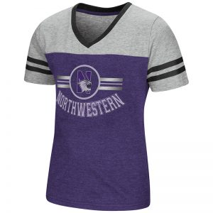 Northwestern University Wildcats Colosseum Girls Purple/Heather Grey Pee Wee Football T-Shirt with N-Cat Design