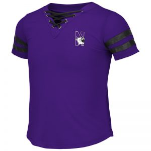 Northwestern University Wildcats Colosseum Girls Purple/Black Wels Lace Up T-Shirt with N-Cat Design