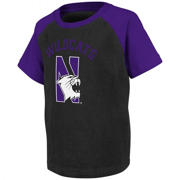 Northwestern University Wildcats Colosseum Toddler Black Spike S/S T-Shirt with N-Cat Design