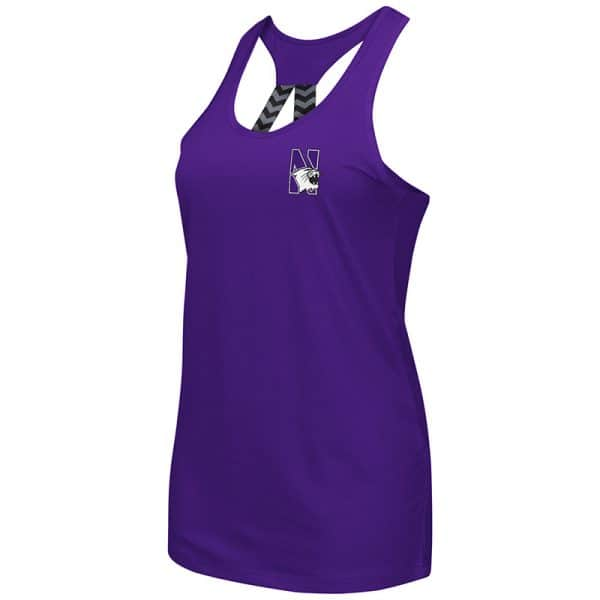 Northwestern University Wildcats Colosseum Ladies Purple Bamboozled Elastic Strap Tank with N-Cat Design