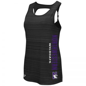 Northwestern University Wildcats Colosseum Ladies Black Phalange Twisted Back Tank with N-Cat Design