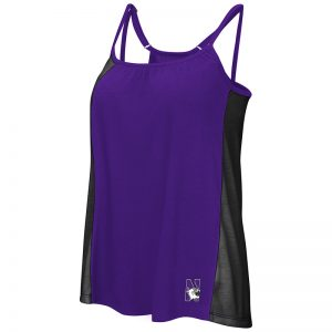 Northwestern University Wildcats Colosseum Ladies Purple / Black Ursula Double Strap Tank with N-Cat Design