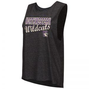 Northwestern University Wildcats Colosseum Ladies Heather Black Marcel Mublackle Tank with N-Cat Design