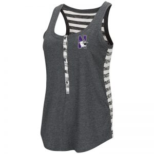 Northwestern University Wildcats Colosseum Ladies Heather Black Central Perk Henley Tank with N-Cat Design