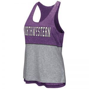 Northwestern University Wildcats Colosseum Ladies Purple / Heather Grey Red Ross Reversible Tank with Straight Northwestern Design