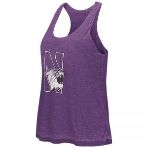 Northwestern University Wildcats Colosseum Purple / Heather Grey Red Ross Reversible Tank with N-Cat Design