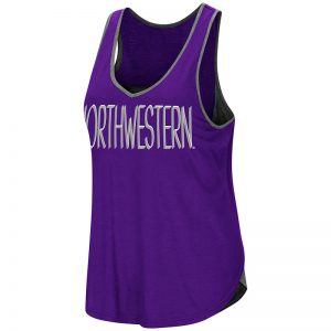 Northwestern University Wildcats Colosseum Ladies Purple/Heather Charcoal All The Way Tulip Back Tank with Straight Northwestern Design
