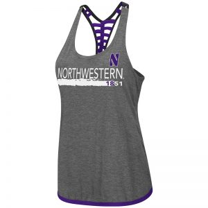 Northwestern University Wildcats Colosseum Ladies Heather Charcoal/Purple/Black Kimono Strappy Racerback Tank with Stylized N Design