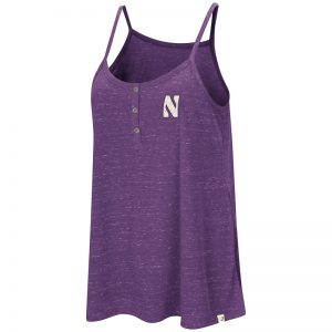 Northwestern University Wildcats Colosseum Ladies Purple Betty Spaghetti Henley Tank with Stylized N Design