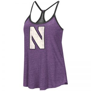Northwestern University Wildcats Colosseum Ladies Purple / Heather Black Clearly Inside Reversible Tank with Stylized N Design