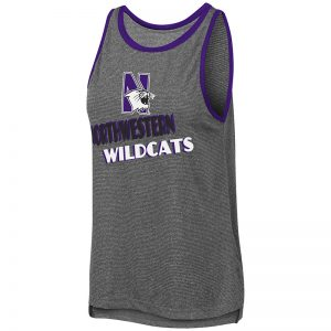Northwestern University Wildcats Colosseum Ladies Charcoal/Purple Bayonne Mublackle Tank with N-Cat Design