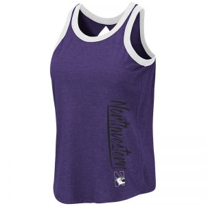 Northwestern University Wildcats Colosseum Ladies Purple/Black Venice Tank with N-Cat Design