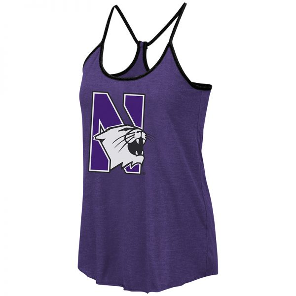 Northwestern University Wildcats Colosseum Ladies Purple/Heather Grey/Black Verona Reversible Tank with N-Cat Design