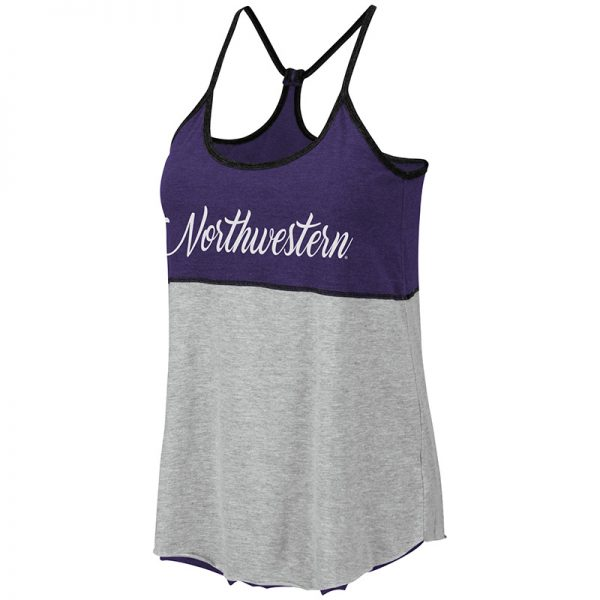 Northwestern University Wildcats Colosseum Ladies Purple/Heather Grey/Black Verona Reversible Tank With Script Northwestern Design