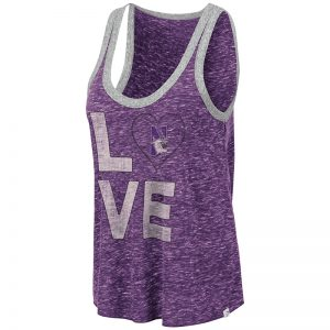 Northwestern University Wildcats Colosseum Ladies Purple/Heather Grey Marsala Mublackle Tank with N-Cat Design