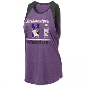 Northwestern University Wildcats Colosseum Ladies Purple/Black Modica Mublackle Tank with N-Cat Design