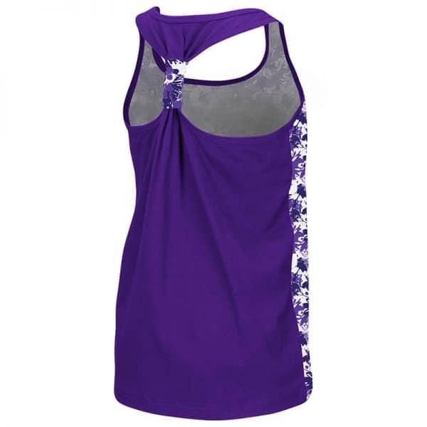 Northwestern University Wildcats Colosseum Youth Girls Purple Flower Pattern/Purple Geller Cup Tank with N-Cat Design- Back
