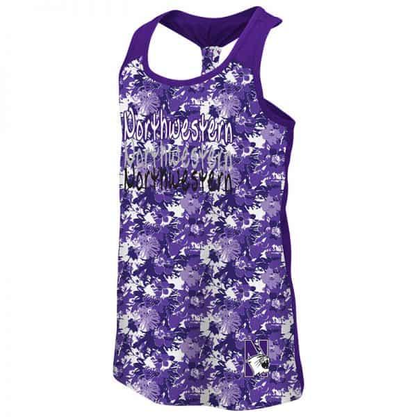 Northwestern University Wildcats Colosseum Youth Girls Purple Flower Pattern/Purple Geller Cup Tank with N-Cat Design