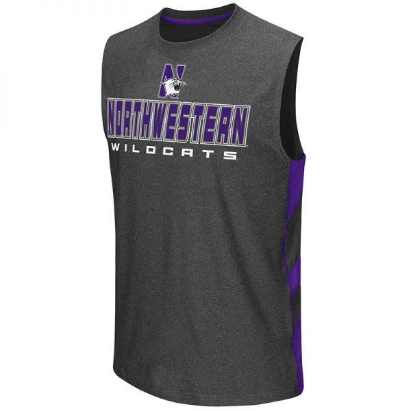 Northwestern University Wildcats Colosseum Men's Heather Charcoal Architect Sleeveless T-Shirt with N-Cat Design