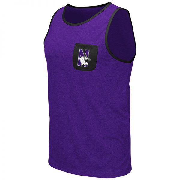 Northwestern University Wildcats Colosseum Men's Purple Babka Pocket Tank with N-Cat Design