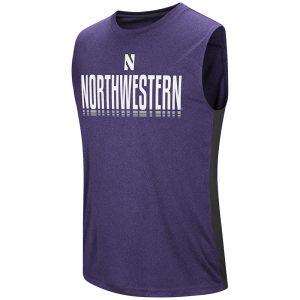 Northwestern University Wildcats Colosseum Men's Purple Hanging Curveball Sleeveless T-Shirt with Stylized N Design