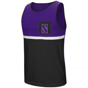 Northwestern University Wildcats Colosseum Men's Purple & Black Lollygaggers Tank with Stylized N Design