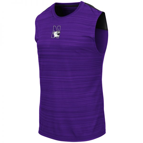Northwestern University Wildcats Colosseum Men's Purple/Black Madang Sleeveless T-Shirt with N-Cat Design