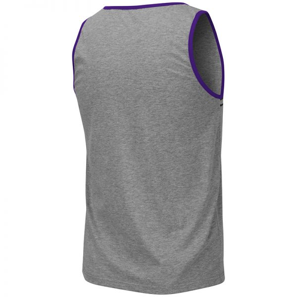 Northwestern University Wildcats Colosseum Men's Heather Grey/Purple Lima Tank with N-Cat Design-Back