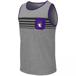 Northwestern University Wildcats Colosseum Men's Heather Grey/Purple Lima Tank with N-Cat Design