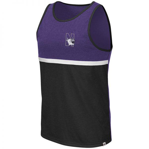 Northwestern University Wildcats Colosseum Men's Purple/Black La Paz Tank with N-Cat Design