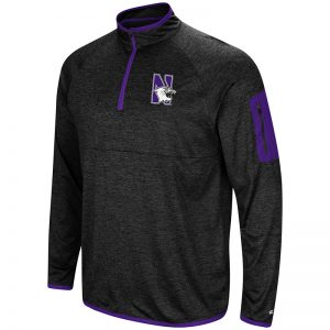 Northwestern University Wildcats Colosseum Men's Black Amnesia 1/4 Zip with N-Cat Design
