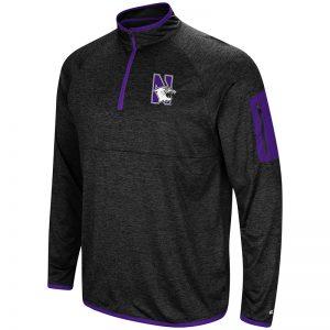 Northwestern University Wildcats Colosseum Men's Black Amnesia 1/4 Zip with N-Cat Design