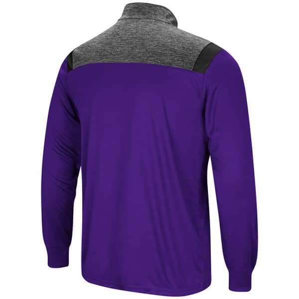 Northwestern University Wildcats Colosseum Mens Purple/Heather Charcoal/Black Championship Trophy 1/4 Zip Windshirt with Stylized N Design-Back