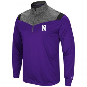 Northwestern University Wildcats Colosseum Mens Purple/Heather Charcoal/Black Championship Trophy 1/4 Zip Windshirt with Stylized N Design