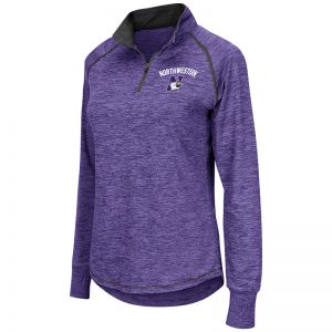Northwestern University Wildcats Colosseum Ladies Heather Purple Wmn Bikram L/S Qtr Zip with N-Cat Design
