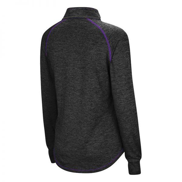 Northwestern University Wildcats Colosseum Ladies Black/Purple Wmn Bikram L/S Qtr Zip with N-Cat Design-Back