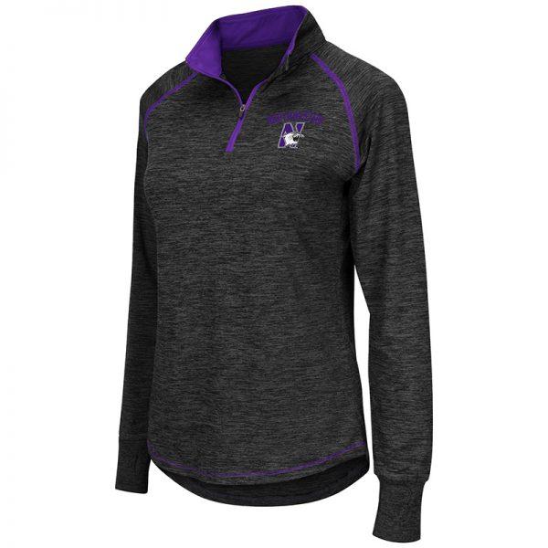 Northwestern University Wildcats Colosseum Ladies Black/Purple Wmn Bikram L/S Qtr Zip with N-Cat Design