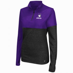 Northwestern University Wildcats Colosseum Ladies Purple Pivot 1/2 Zip Pullover with N-Cat Design