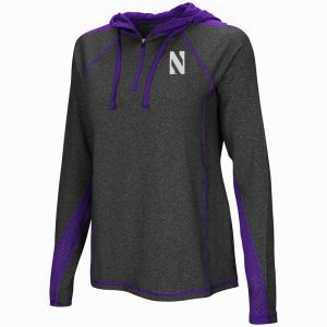 Northwestern University Wildcats Colosseum Ladies Heather Charcoal/Purple Evelyn 1/4 Zip Hoodie with Stylized N Design