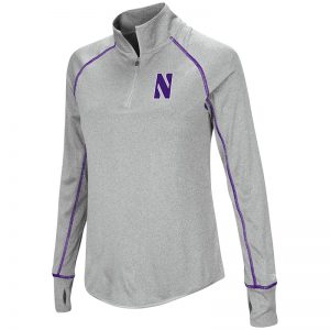 Northwestern University Wildcats Colosseum Ladies Heather Grey Kit 1/4 Zip Pullover with Stylized N Design