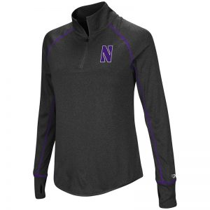 Northwestern University Wildcats Colosseum Ladies Heather Charcoal Kit 1/4 Zip Pullover with Stylized N Design