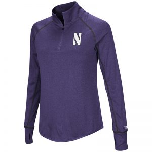 Northwestern University Wildcats Colosseum Ladies Heather Purple Kit 1/4 Zip Pullover with Stylized N Design