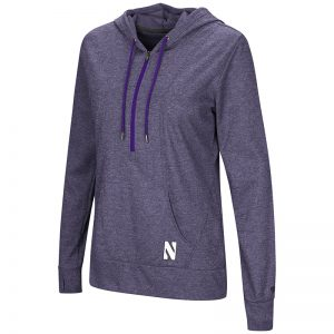 Northwestern University Wildcats Colosseum Ladies Purple Sugar 1/2 Zip Hoodie with Stylized N Design