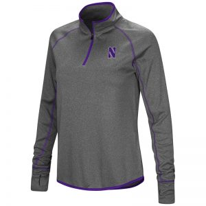 Northwestern University Wildcats Colosseum Ladies Heather Charcoal Shark 1/4 Zip Windshirt with Stylized N Design