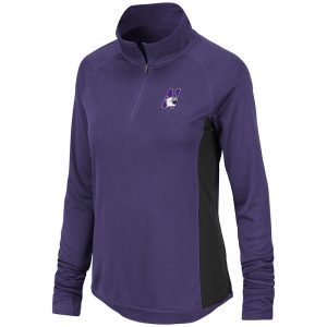 Northwestern University Wildcats Colosseum Ladies Purple/Black Albi 1/4 Zip Windshirt with N-Cat Design