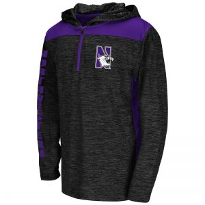 Northwestern University Wildcats Colosseum Youth Heather Charcoal/Purple Insert Quick Kick Hoodie With N-Cat Design