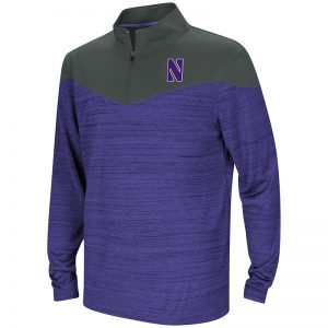 Northwestern University Wildcats Colosseum Youth Purple / Black Hercules ¼ Zip with Stylized N Design