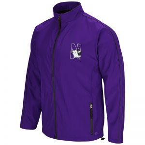 Northwestern University Wildcats Colosseum Mens Purple/Charcoal Barrier Full Zip Wind Jacket with N-Cat Design
