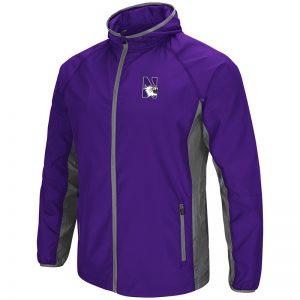 Northwestern University Wildcats Colosseum Mens Purple/Charcoal Archer Full Zip Hooded Jacket with N-Cat Design